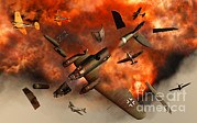 Military Artwork Prints - A German Heinkel Bomber Plane Blowing Print by Mark Stevenson