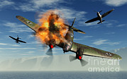 Destruction Digital Art - A German Heinkel Bomber Plane Crashing by Mark Stevenson