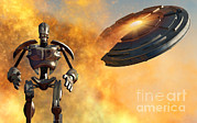 Ufology Prints - A Giant Robot And Ufo On The Attack Print by Mark Stevenson