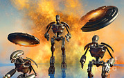 Ufology Prints - A Giant Robot Force On The Attack Print by Mark Stevenson