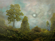 Fantasy Tree Art Prints - A Gift For The Lonely. Fantasy Fairy Tale Landscape Painting. By Philippe Fernandez Print by Philippe Fernandez