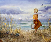 Beige Dress Framed Prints - A Girl And The Ocean Framed Print by Irina Sztukowski