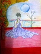 Syeda Ishrat Art - A Girl in dream Night by Syeda Ishrat