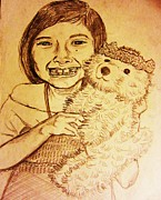 Charcoal Dog Drawing Drawings Posters - A girl with a stuffed animal Poster by Esther Rowden