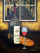Red Wine Bottle Pastels Prints - A Glass of wine Print by Michael Alvarez
