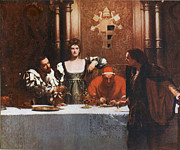 Borgia Posters - A Glass of Wine with Caesar Borgia Poster by John Collier