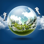 Panorama Digital Art Originals - A glass transparent ball mountains inside it with astronaut on blue sky by Thanes