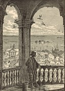 African American History Drawings Prints - A Glimpse of Charleston and Bay from St. Michaels Church 1872 Engraving by Harry Fenn Print by Antique Engravings
