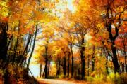 Fall Digital Art Prints - A Golden Day Print by Lois Bryan