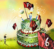 Fun Food Mixed Media Framed Prints - A Golfers Birthday Cake Framed Print by Miki De Goodaboom