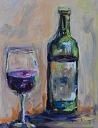 Wine Bottle Paintings - A Good Pour by Donna Tuten