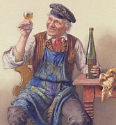 Wine-bottle Painting Prints - A Good Vintage Print by Peter Kraemer