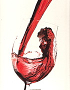 Wine-glass Drawings Prints - A good wine Print by Gary Fernandez