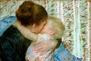 Caring Mother Painting Framed Prints - A Goodnight Hug  Framed Print by Mary Stevenson Cassatt