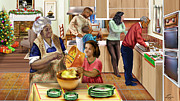 Dinner Paintings - A Grandma and Grandpop Christmas by Reggie Duffie
