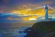 Lighthouse At Sunset Posters - A Guiding Light Poster by Linda Lopez