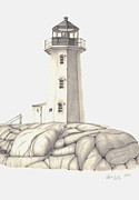 Lighthouse Drawings - A Guiding Light by Patricia Hiltz