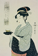 Half-length Framed Prints - A Half Length Portrait of Naniwaya Okita Framed Print by Kitagawa Utamaro