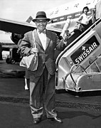 Airline Industry Photos - A Happy  Airline Passenger by Underwood Archives