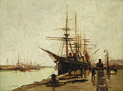 Docked Sailboats Painting Posters - A Harbor Poster by Eugene Galien-Laloue