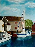 Flag Pastels Prints - A Harbor In New England Print by Christiane Schulze