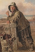 Full-length Portrait Painting Prints - A Hastings Fisherman Print by William Henry Hunt