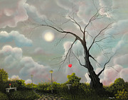Moon Paintings - A Haunting Love Story. Fantasy Landscape Fairytale Art By Philippe Fernandez  by Philippe Fernandez