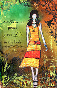 Bible Mixed Media Prints - A Heart At Peace Inspirational Christian artwork with Bible verse Print by Janelle Nichol