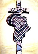 Mosaic Sculpture Posters - A Heart for Africa Cross Poster by Kathleen Luther