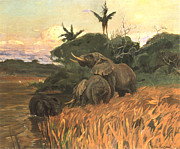 Herd Of Elephants Posters - A Herd Of Elephants By Moonlight Poster by Friedrich Wilhelm Kuhnert