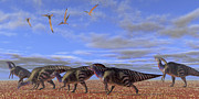 A Herd Of Parasaurolophus Dinosaurs Print by Corey Ford