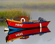 Fishing Photos - A Heros Reflection in the Foggy Marsh by Carl Jacobs