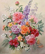 Red And Orange Framed Prints - A High Summer Bouquet Framed Print by Albert Williams