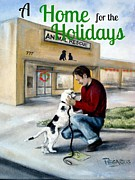 Puppy Paintings - A Home for the Holidays by Beverly Pegasus