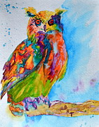 Yellow Beak Painting Metal Prints - A Hootiful Moment In Time Metal Print by Beverley Harper Tinsley