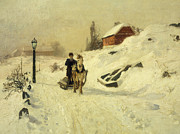 Thaulow Framed Prints - A Horse Drawn Sleigh in a Winter Landscape Framed Print by Fritz Thaulow