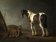 Famous Artists - A Horse with a Saddle Beside it by Abraham van Calraet