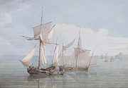 Ally Painting Posters - A Hoy and a Lugger with other Shipping on a Calm Sea  Poster by John Thomas Serres
