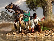 Western Digital Art Metal Prints - A Hunter and His Horse Metal Print by Daniel Eskridge
