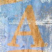 Letter Photo Posters - A In Blue Poster by Carol Leigh