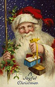 Father Christmas Paintings - A Joyful Christmas by English School
