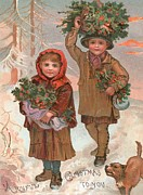 Outside Ice Paintings - A Joyful Christmas to you   Victorian Christmas card  by English School