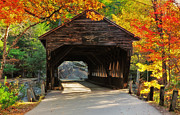 Autumn Scenes Acrylic Prints - A Kancamagus Gem - Albany Covered Bridge NH Acrylic Print by Thomas Schoeller