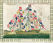 Seascapes Drawings Metal Prints - A King s Ship dressed with the colours of different nations 6th October 1794 Metal Print by English School