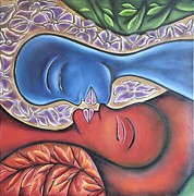 Puerto Rico Paintings - A Kiss in the Yunque Rainforest by Janice Aponte
