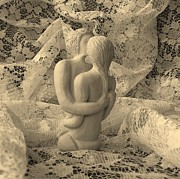 White Sculpture Prints - A Lace Kiss Print by Barbara St Jean