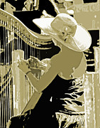 Musicans Prints - A Lady and A Harp Print by Joseph Coulombe