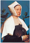 Starlings Paintings - A Lady with a Squirrel and a Starling by Hans Holbein the Younger
