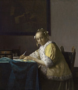 Jan Vermeer Paintings - A Lady Writing by Johannes Vermeer