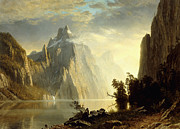 A Lake In The Sierra Nevada Print by Albert Bierstadt